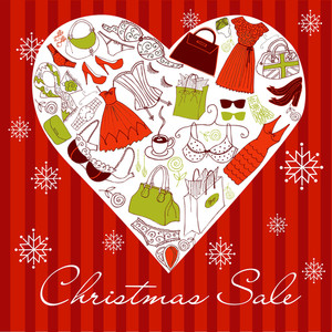 Christmas Sale! A Heart Shape Made Of Of Different Female Fashion Accessories.