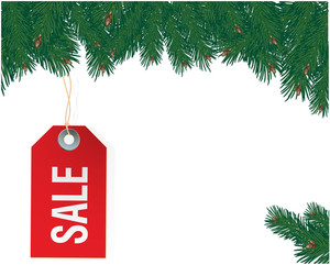 Christmas Sale Tag. Vector Template.