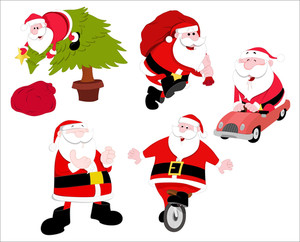 Christmas Santa Cartoons Vectors