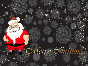 Christmas Santa Claus Isolated On Snowflake Background