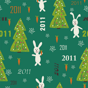 Christmas Seamless Texture With Rabbit Holding Carrot And Christmas Tree