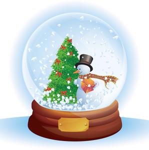 Christmas Snow Dome. Vector.