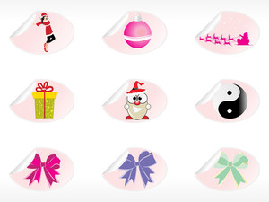 Christmas Sticker Vector Illustration