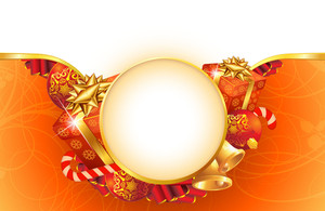 Christmas Template With Decorated Gifts, Gold And Red Ribbons, Holly Leaves And Balls. Vector.