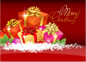 Christmas Template With Shining Gift Boxes. Vector Background.