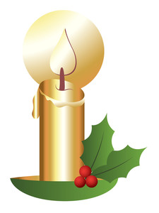 Christmas Theme Holy Leaves With Candle