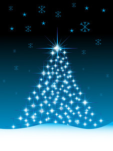 Christmas Tree Background Night Scene