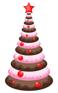 Christmas Tree Cake Vector