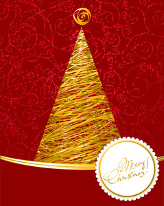 Christmas Tree Calligraphic Vector Decorative Template.