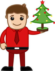 Christmas Tree Decoration - Business Cartoon Characters