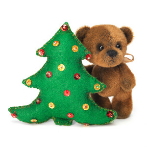 Christmas tree decoration with cute classic teddy bear. Fully handmade.