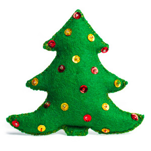 Christmas tree handmade toy on white background