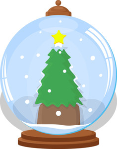 Christmas Tree In Ice Globe - Christmas Vector Illustration