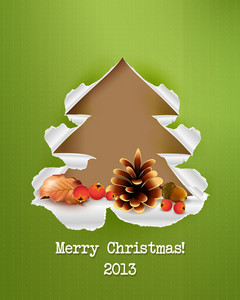 Christmas Vector Illustration With Acorn,cranberries,leaves,pine Cone