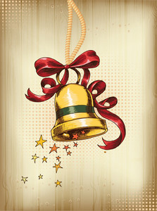 Christmas Vector Illustration With Bell And Bow