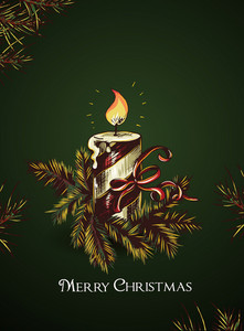Christmas Vector Illustration With Candle And Fir