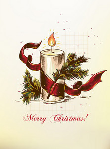 Christmas Vector Illustration With Candle,ribbon And Fir