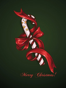 Christmas Vector Illustration With Candy And Bow