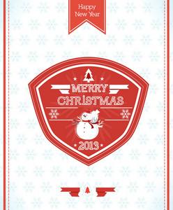 Christmas Vector Illustration With Christmas Bagde