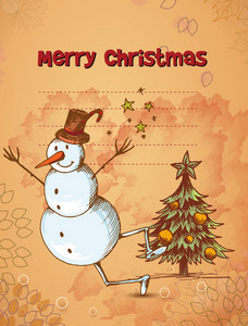 Christmas Vector Illustration With Christmas Tree And Snow Man