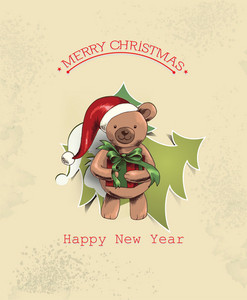 Christmas Vector Illustration With Christmas Tree And Teddy Bear