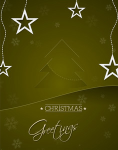 Christmas Vector Illustration With Christmas Tree Ans Stars
