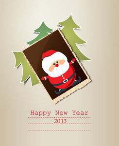Christmas Vector Illustration With Christmas Tree, Photo Frame And Sticker Santa