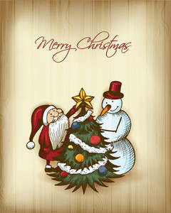 Christmas Vector Illustration With Christmas Tree, Snow Man And Santa