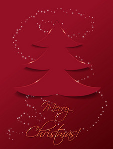 Christmas Vector Illustration With Christmas Tree Sticker