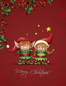 Christmas Vector Illustration With  Elves And Holly Berry Frame