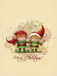 Christmas Vector Illustration With Elves And Snow Flake