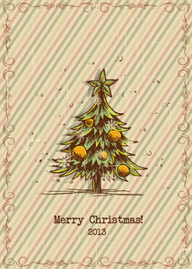 Christmas Vector Illustration With Frame And Christmas Tree