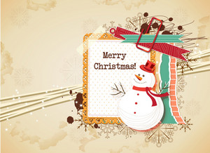 Christmas Vector Illustration With Frame And Snow Man