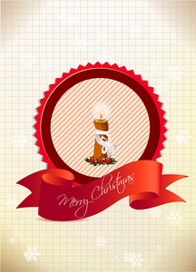 Christmas Vector Illustration With Label And Candle