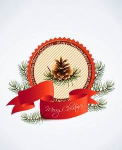 Christmas Vector Illustration With Label, Ribbon And Pine Cone