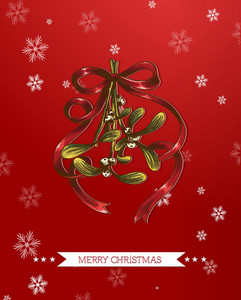 Christmas Vector Illustration With Mistletoe