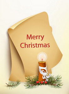 Christmas Vector Illustration With Old Paper And Candle