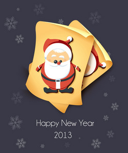 Christmas Vector Illustration With Old Paper And Santa Sticker
