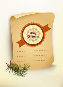 Christmas Vector Illustration With Old Paper