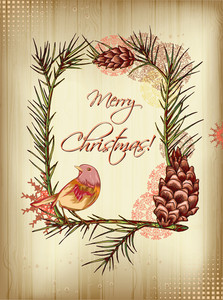 Christmas Vector Illustration With Paper,pine Cone And Bird