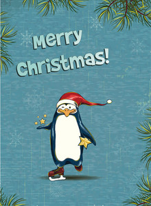 Christmas Vector Illustration With  Penguin And Fir Frame
