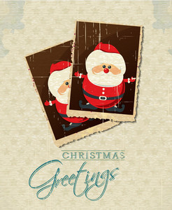 Christmas Vector Illustration With Photo Frame And Santa