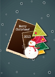 Christmas Vector Illustration With Photo Frame ,christmas Tree And Snow Man