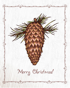 Christmas Vector Illustration With Pine Cone