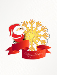 Christmas Vector Illustration With Santa And Sticker