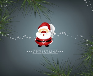 Christmas Vector Illustration With Santa Sticker  And Christmas Branches