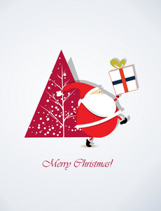 Christmas Vector Illustration With Santa Sticker And Christmas Tree,gift
