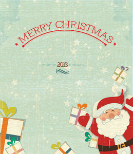 Christmas Vector Illustration With Santa Sticker And Gift