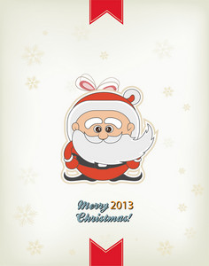 Christmas Vector Illustration With Santa Sticker