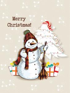 Christmas Vector Illustration With  Snow Man And Christmas Tree
